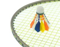 Colorful shuttlecock on badminton rackets Royalty Free Stock Images