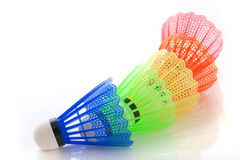 Colorful shuttlecocks for badminton royalty free stock photos