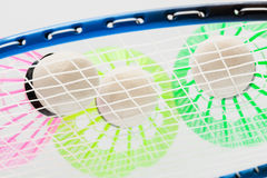 Colorful shuttlecocks for badminton. Close up Royalty Free Stock Images