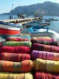 Colorful Sicilian Fabrics Royalty Free Stock Photos