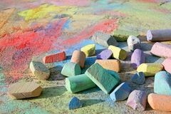 Colorful Sidewalk Chalk Royalty Free Stock Photo