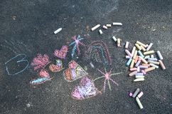 Free Colorful Sidewalk Chalk Sketch Stock Photos - 155268823