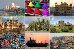 Colorful sights of India in a collage Royalty Free Stock Photos
