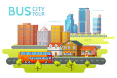 Colorful Sightseeing Tour Template Royalty Free Stock Photography