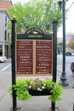 Colorful sign with the many businesses in the area, Saratoga Springs, New York,2015 Royalty Free Stock Photos