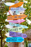 Colorful sign points the way to the different destinations in th Royalty Free Stock Image