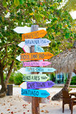 Colorful sign points the way to the different destinations in th Stock Photography