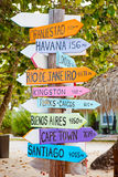 Colorful sign points the way to the different destinations in th Stock Image
