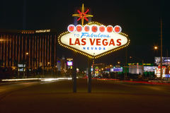 Colorful sign reads �Welcome to Fabulous Las Vegas, Nevada� at night Royalty Free Stock Image