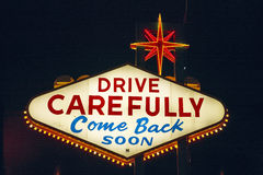 Colorful sign reads �Welcome to Fabulous Las Vegas, Nevada� at night Royalty Free Stock Images