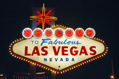 Colorful sign reads �Welcome to Fabulous Las Vegas, Nevada� at night Royalty Free Stock Photo