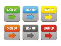 Colorful sign up buttons Royalty Free Stock Image