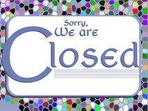 Colorful signboard with word closed Royalty Free Stock Image