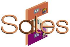Colorful signboard with word sales Stock Photo