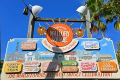 Mallory Square, Key West, Florida. Colorful signs at the entrance of Mallory Square, Kew West, Florida, USA Royalty Free Stock Photo