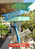 Colorful signs giving directions Royalty Free Stock Photography