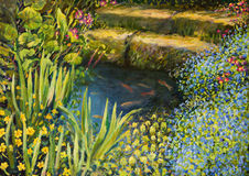 Colorful Silence. An oil painting on canvas of a small tranquil pond with fishes and colorful blooming flowers Royalty Free Stock Image