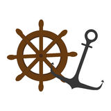 Colorful silhouette boat helm and anchor Royalty Free Stock Photos