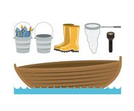 Colorful silhouette boat in water waves and set collection elements to fishing. Vector illustration Stock Photos
