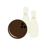 Colorful silhouette bowling game icons Stock Photo