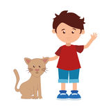 Colorful silhouette with boy and cat Stock Photography
