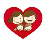 colorful silhouette cartoon heart with family faces Royalty Free Stock Image