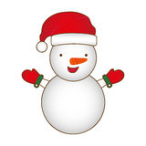 Colorful silhouette cartoon snowman christmas design. Illustration Royalty Free Stock Photos