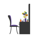 colorful silhouette with chest of drawers and make up Royalty Free Stock Image