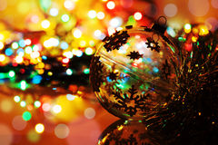Colorful silhouette of christmas ball on new year's backgr Stock Photography