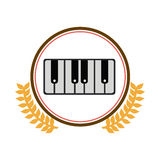 Colorful silhouette circle with decorative olive branch and piano keyboard Royalty Free Stock Images