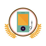 colorful silhouette circle with decorative olive branch and portable music device Stock Photo