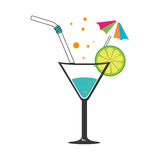 Colorful silhouette with cocktail drink with lemon slice and straw and decorative umbrella Royalty Free Stock Images
