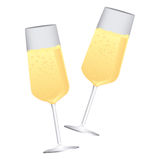 Colorful silhouette couple toast champagne glasses. Illustration Royalty Free Stock Photos