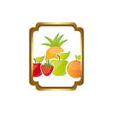 Colorful silhouette curved rectangle decorative heraldic frame with still life fruits Stock Photo