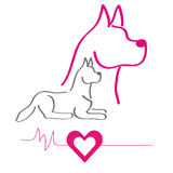 Colorful silhouette of a dogs. With heart on white background . Vector illustration Stock Images