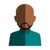 Colorful silhouette faceless half body brunette bald man with beard Stock Photography