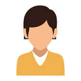 Colorful silhouette faceless half body woman with straight short hair Stock Photo