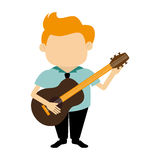 Colorful silhouette faceless singer with acoustic guitar Stock Image