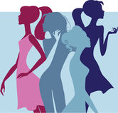 Colorful silhouette of fashion girls Royalty Free Stock Photos