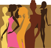 Colorful silhouette of fashion girls Royalty Free Stock Photography