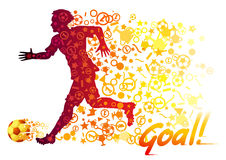 Colorful silhouette of a football player running. With the trail from the game symbols and a fiery soccer ball. Vector illustration of sports. Lettering Goal Stock Photo