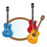 colorful silhouette with guitars set electric and acoustic Royalty Free Stock Photos