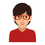 Colorful silhouette of half body woman with short hair and glasses Royalty Free Stock Photo