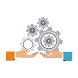 Colorful silhouette with hands hold gear wheels. Vector illustration Stock Photo