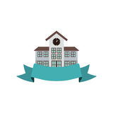 Colorful silhouette high school structure with ribbon Stock Photos