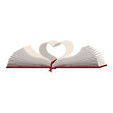 Colorful silhouette with holy bible open with sheets in shape heart Royalty Free Stock Image