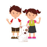 Colorful silhouette with kids and dog Royalty Free Stock Image