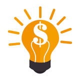 Colorful silhouette light bulb with dollar symbol Royalty Free Stock Images