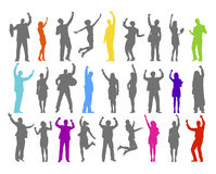 Colorful Silhouette Of Rejoiced Business People Stock Photo