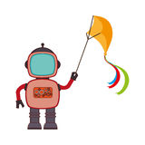 Colorful silhouette with robot with fly kite Stock Photo
